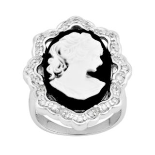 Sterling Silver Cubic Zirconia Cameo Ring