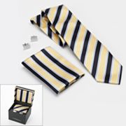 Croft and Barrow Striped Tie, Pocket Square and Cuff Links Boxed Set