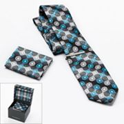 Croft and Barrow Geometric Tie, Pocket Square and Tie Bar Boxed Set