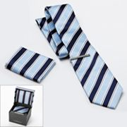 Croft and Barrow Striped Tie, Pocket Square and Tie Bar Boxed Set