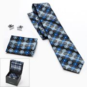 Croft and Barrow Plaid Tie, Pocket Square and Cuff Links Boxed Set