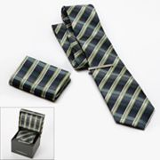 Croft and Barrow Plaid Tie, Pocket Square and Tie Bar Boxed Set