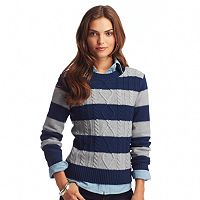 Women's Chaps Striped Cable-Knit Sweater