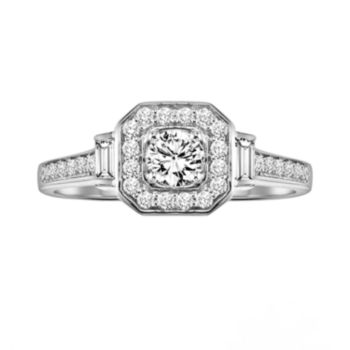 Simply Vera Vera Wang Certified Diamond Halo Engagement Ring in 14k White Gold (1/2 ct. T.W.)