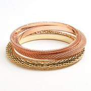 daisy fuentes Two Tone Mesh Bangle Bracelet Set
