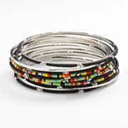 Chaps Silver Tone Bead Bangle Bracelet Set
