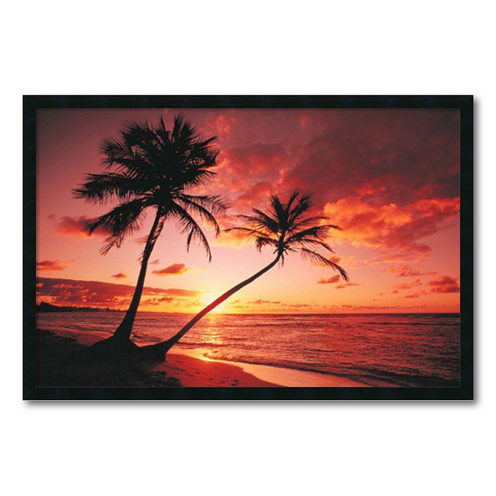 ''Tropical Beach Sunset'' Framed Wall Art