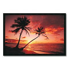 ''Tropical Beach Sunset'' Framed Wall Art