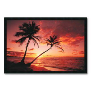 Tropical Beach Sunset Framed Wall Art
