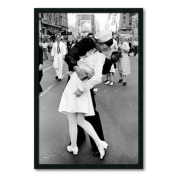 Kissing on VJ Day - Times Square Framed Wall Art by Alfred Eisenstaedt