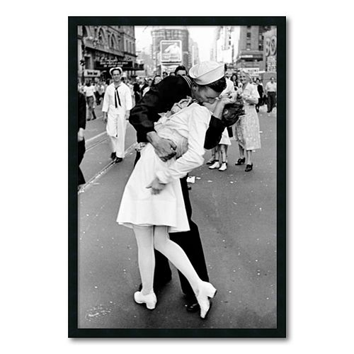 ''Kissing on VJ Day - Times Square'' Framed Wall Art by Alfred Eisenstaedt