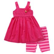 Youngland Crocheted Dress and Striped Bike Shorts Set - Toddler