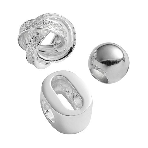 Individuality Beads Sterling Silver Initial, Knot & Spacer Bead Set