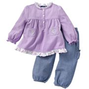Chaps Striped Ruffled Top and Chambray Pants Set - Baby