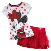 Disney Mickey Mouse and Friends Minnie Mouse Dotted Tee and Skirt Set - Girls 4-6x