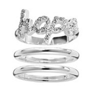 Silver Plate Simulated Crystal Hope Stack Ring Set