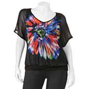HeartSoul Floral Chiffon Top - Juniors' Plus