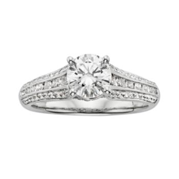 Round-Cut IGL Certified Diamond Engagement Ring in 14k White Gold (1 1/2 ct. T.W.)