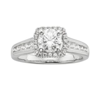 Round-Cut IGL Certified Diamond Frame Engagement Ring in 14k White Gold (1 1/2 ct. T.W.)
