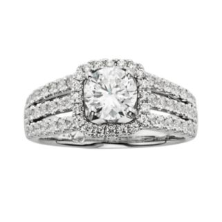 14k White Gold 1 3/4-ct. T.W. IGL Certified Round-Cut Diamond Frame Ring