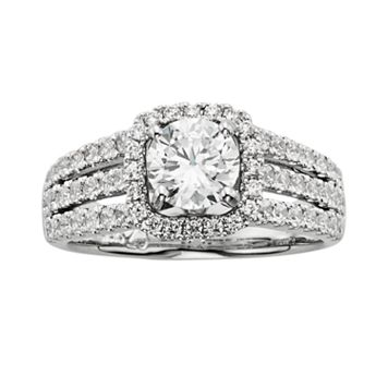 14k White Gold 1 3/4-ct. T.W. IGL Certified Round-Cut Diamond Frame Ring