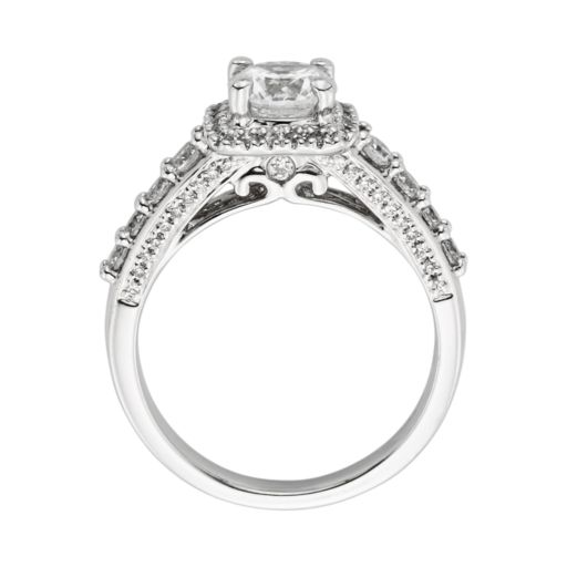 Round-Cut IGL Certified Diamond Frame Engagement Ring in 14k White Gold (1 3/4 ct. T.W.)