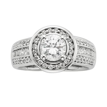 Round-Cut IGL Certified Diamond Frame Engagement Ring in 14k White Gold (1 3/4-ct. T.W.)
