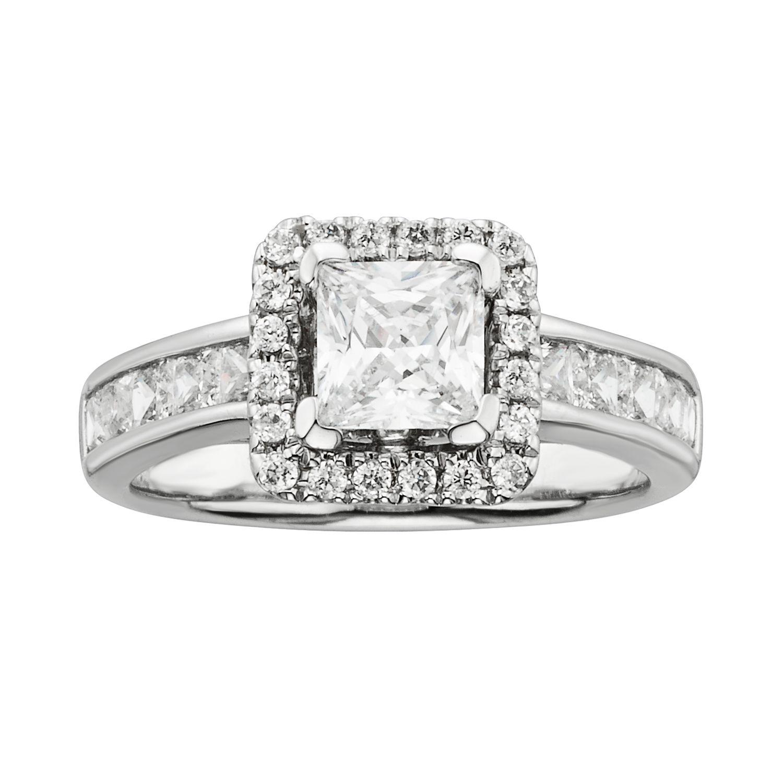 14k White Gold Wedding Rings 41 Beautiful Princess CutIGL Certified Diamond