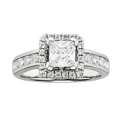 Princess-Cut IGL Certified Diamond Frame Engagement Ring in 14k White Gold (2 ctT.W.)