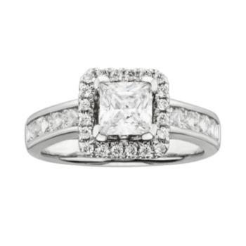 Princess-Cut IGL Certified Diamond Frame Engagement Ring in 14k White Gold (2-ct. T.W.)