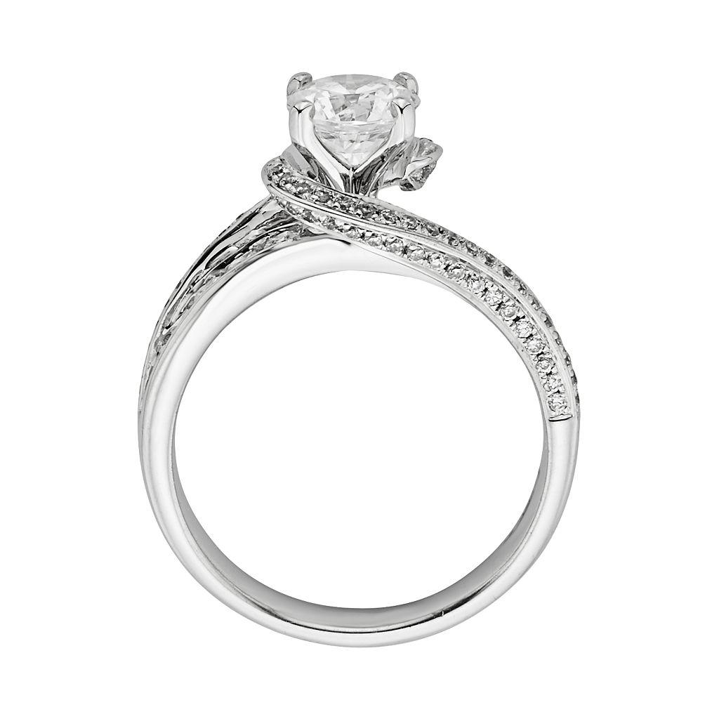 Round-Cut IGL Certified Diamond Swirl Engagement Ring in 14k White Gold (3/4 ct. T.W.)