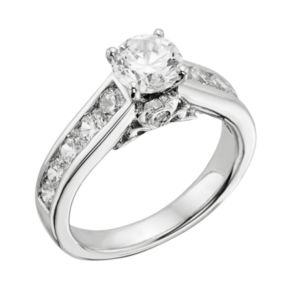 14k White Gold 2-ct. T.W. IGL Certified Round-Cut Diamond Ring