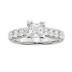 Princess-Cut IGL Certified Diamond Engagement Ring in 14k White Gold (2 ctT.W.)
