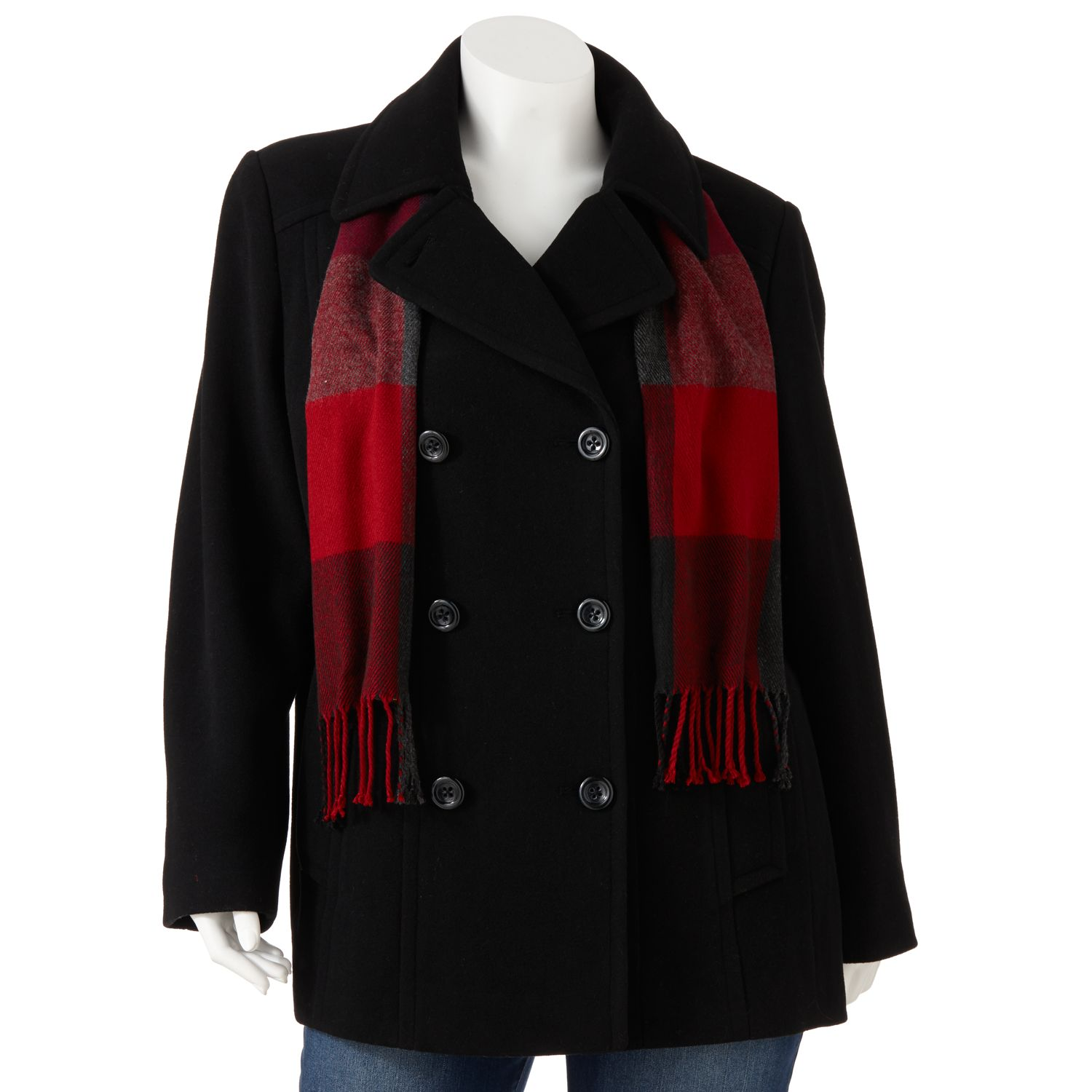Croft & Barrow Wool-Blend Peacoat - Women's Plus