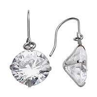 Steel City Stainless Steel Cubic Zirconia Drop Earrings