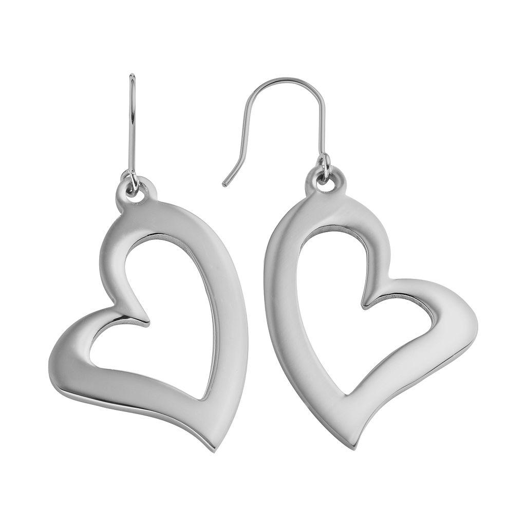 Steel City Stainless Steel Heart Drop Earrings