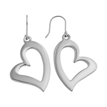 Steel City Stainless Steel Heart Drop Earrings