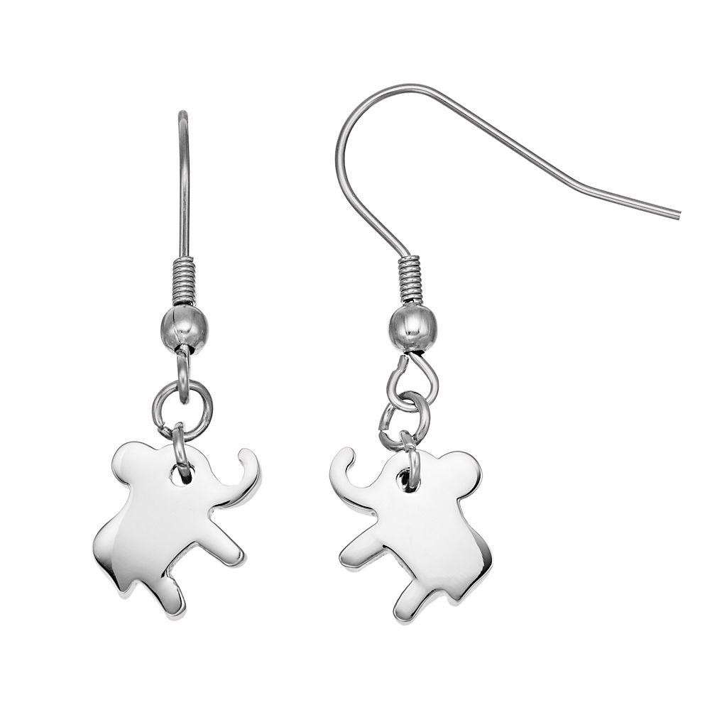 Steel City Stainless Steel Elephant Drop Earrings