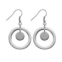 Steel City Stainless Steel Circle Drop Earrings