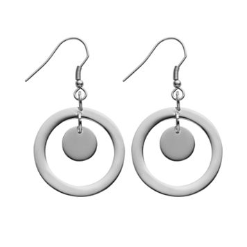 Steel City Stainless Steel Circle Drop Earrings
