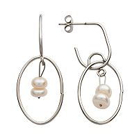 Steel City Stainless Steel Simulated Pearl Hoop Drop Earrings