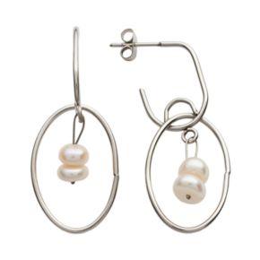 Steel City Stainless Steel Simulated Pearl Hoop Drop Earrings