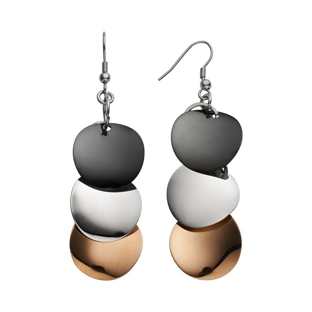 Steel City Stainless Steel Tri-Tone Circle Drop Earrings