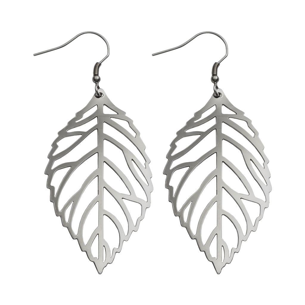 Steel City Stainless Steel Openwork Leaf Drop Earrings