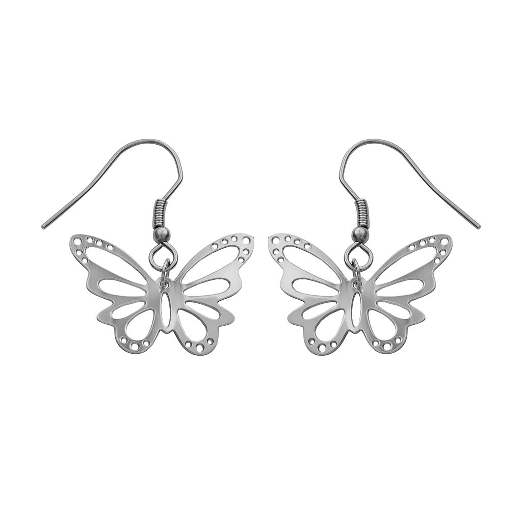 Steel City Stainless Steel Butterfly Drop Earrings