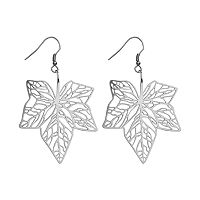 Steel City Stainless Steel Openwork Leaf Drop Earrings