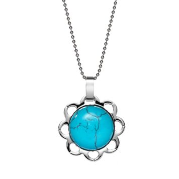 Steel City Stainless Steel Simulated Turquoise Cabochon Flower Pendant