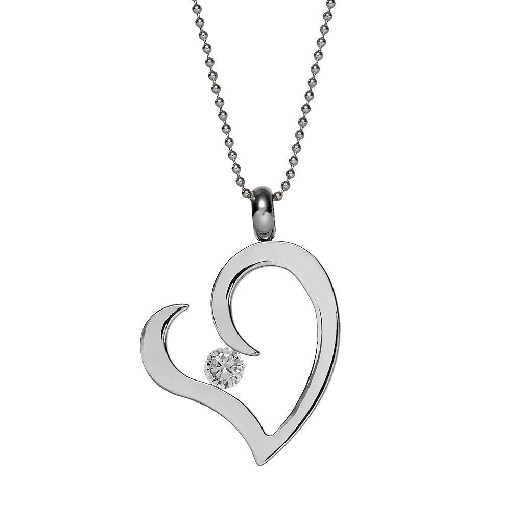 Steel City Stainless Steel Cubic Zirconia Heart Pendant
