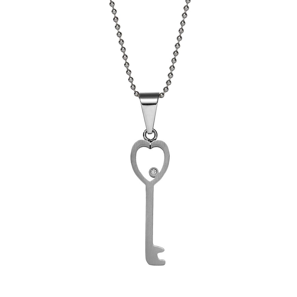 Steel City Stainless Steel Cubic Zirconia Heart Key Pendant