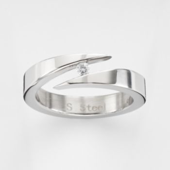 Steel City Stainless Steel Cubic Zirconia Bypass Ring